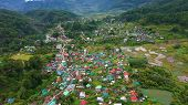 The Town Is Surrounded By Mountains, A Top View. Sagada City On Luzon Island, Philippines. Houses An poster