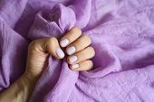 A Woman Hand With Pale Purple Painted Nails Holds A Lilac Cotton Fabric On A Lilac Fabric Background poster