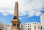 Eivissa Ibiza town corsair monument with downtown in background