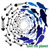 Save The Planet. Save Our Oceans. Ecology Print. World Oceans Day Concept, Many Sea Creatures Underw poster