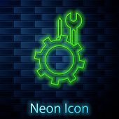 Glowing Neon Line Wrench And Screwdriver In Gear Icon Isolated On Brick Wall Background. Adjusting,  poster