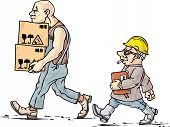 stock photo of adversity humor  - The mover and his boss at their work - JPG