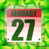 January 27 Icon. For Planning Important Day With Green Leaves. Banner For Holidays And Special Days. poster