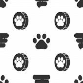 Set Shit, Paw Print And Paw Print On Seamless Pattern. Vector poster