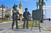 SITGES, SPAIN - MARCH 3: Monument to Santiago Rusinol and Ramon Casas on March 3, 2012 in Sitges, Sp