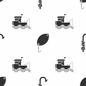 Set Fishing Hook, Fishing Spoon And Fishing Boat With Fishing Rod On Water On Seamless Pattern. Vect poster