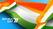 71 Years India Republic Day With National Flag Color Theme. Abstract Waving Flag Background Of India poster