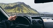 View From Drivers Seat Over The Road To Landmannalaugar, Iceland poster