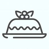 Cake Line Icon. A Celebrating Cake Vector Illustration Isolated On White. Cake With Berries Outline  poster