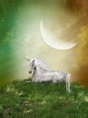 image of moon-flower  - Fantasy landscape with unicorn and a big moon - JPG