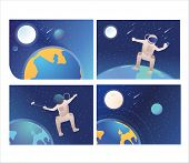 Set Of Astronauts Making Selfie In Open Space. Flat Vector Illustrations Of People Moving In No Grav poster
