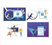 Set Of Cybercriminals Stealing Personal Information. Flat Vector Illustrations Of People Cracking So poster