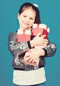 Girl With Gift Boxes Blue Background. Black Friday. Shopping Day. Child Carry Lot Gift Boxes. Kids F poster