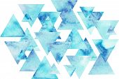 Blue Triangles Composition, Watercolor Background. Abstract Hand-drawn Illustration. Watercolor Comp poster