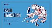Email Marketing Landing Page. Electronic Mail Messages Automation Business Strategy, Outbound Newsle poster