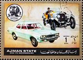 Postage stamp Ajman 1972 Vauxhall, Cars Then and Now