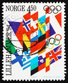 Postage stamp Norway 1994 Flags, Lillehammer 94
