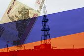 Monopoly Of Russian Gas. Gas Platform For Gas Production Against The Background Of The Russian Flag  poster