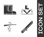 Set Hunter Knife, Hunter Boots, Gun Shooting And Trap Hunting Icon. Vector poster