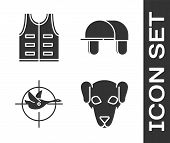 Set Hunting Dog, Hunting Jacket, Hunt On Duck With Crosshairs And Hunter Hat Icon. Vector poster