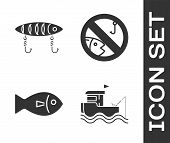Set Fishing Boat With Fishing Rod On Water, Fishing Lure, Fish And No Fishing Icon. Vector poster