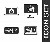 Set Laptop With Smart Home With Wi-fi, Laptop With Smart House And Light Bulb, Mobile Phone With Sma poster