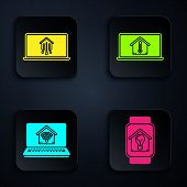 Set Smart Watch With Smart House And Light Bulb, Laptop With Smart Home, Laptop With Smart Home With poster