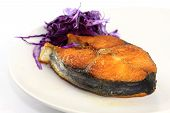 Fish fry with red cabbage in the evening