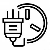 Power Adapter Plug Icon. Outline Power Adapter Plug Vector Icon For Web Design Isolated On White Bac poster