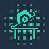 Green Table Saw For Woodwork Icon Isolated On Blue Background. Power Saw Bench. Abstract Circle Rand poster