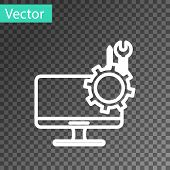 White Line Computer Monitor With Screwdriver And Wrench Icon Isolated On Transparent Background. Adj poster