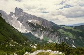 Grosse Bischofsmutze Mountain In Alps, Gosau, Gmunden District, Upper Austria Federal State, Sunny S poster