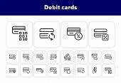 Debit Cards Line Icon Set. Set Of Line Icons On White Background. Banking Concept. Credit Card, Paym poster