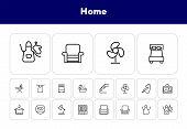 Home Line Icon Set. Set Of Line Icons On White Background. Desk Lamp, Cupboard, Hanger, Aquarium. Ho poster