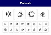 Molecule Line Icon Set. Circle, Cells, Magnet, Particles. Science Concept. Can Be Used For Topics Li poster