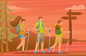 Young People Actively Spend Holidays, Nordic Walking In The Forest At Sunset. Vector Illustration. F poster