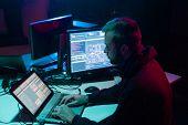 Internet fraud, darknet, data thiefs, cybercrime. Hacker attack on government server. Dangerous crim poster