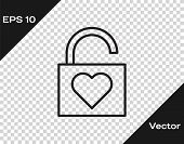 Black Line Lock And Heart Icon Isolated On Transparent Background. Locked Heart. Love Symbol And Key poster