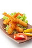 Japanese Cuisine - Ebi Tempura (Deep Fried Shrimps) with Vegetables