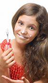 Beauty Teen Girl Clean Teeth Isolated On White