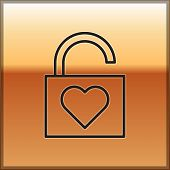 Black Line Lock And Heart Icon Isolated On Gold Background. Locked Heart. Love Symbol And Keyhole Si poster