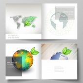 Vector Layout Of Two Covers Templates For Square Design Bifold Brochure, Flyer, Cover Design, Book D poster