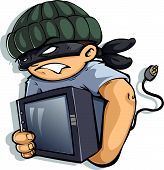 stock photo of shoplifting  - Vector image of a Burglar stealing TV set - JPG