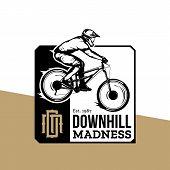 Vector Downhill Mountain Biking Badge Design poster