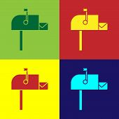 Color Open Mail Box Icon Isolated On Color Background. Mailbox Icon. Mail Postbox On Pole With Flag. poster
