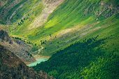 Aerial Spectacular View To Scenic Valley With Beautiful Mountain Lake, Conifer Forest And Rocky Moun poster