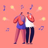Cheerful Couple Singing Song In Karaoke Bar Standing With Microphones On Stage Of Nightclub. Weekend poster