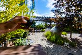 Hand Holding A Glass Of Red Wine In Selective Focus View Against Outdoor Tasting Winery Patio Concep poster