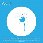Blue Flower Producing Pollen In Atmosphere Icon Isolated On Blue Background. White Circle Button. Ve poster