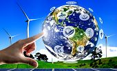 Concept Of Sustainability By Alternative Energy. poster